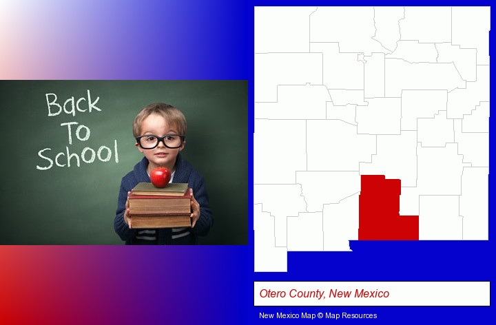the back-to-school concept; Otero County, New Mexico highlighted in red on a map