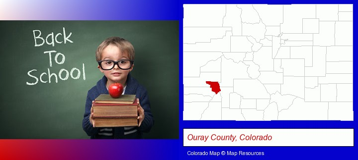 the back-to-school concept; Ouray County, Colorado highlighted in red on a map