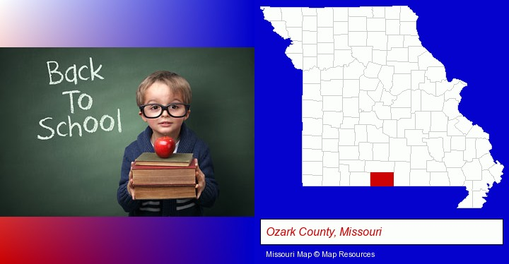 the back-to-school concept; Ozark County, Missouri highlighted in red on a map
