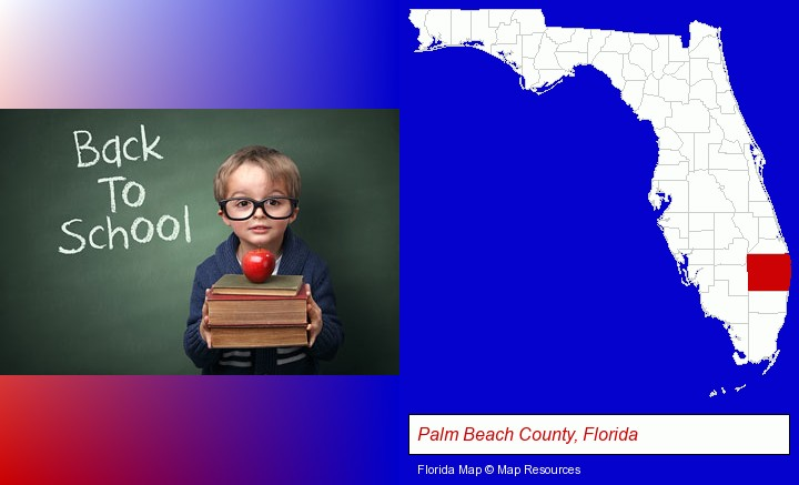 the back-to-school concept; Palm Beach County, Florida highlighted in red on a map