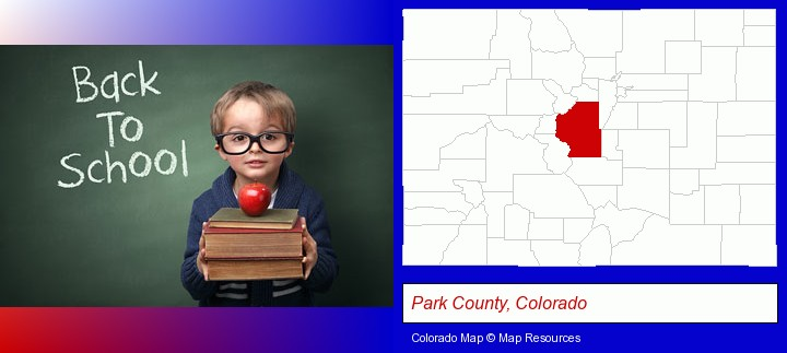 the back-to-school concept; Park County, Colorado highlighted in red on a map