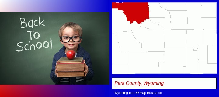 the back-to-school concept; Park County, Wyoming highlighted in red on a map