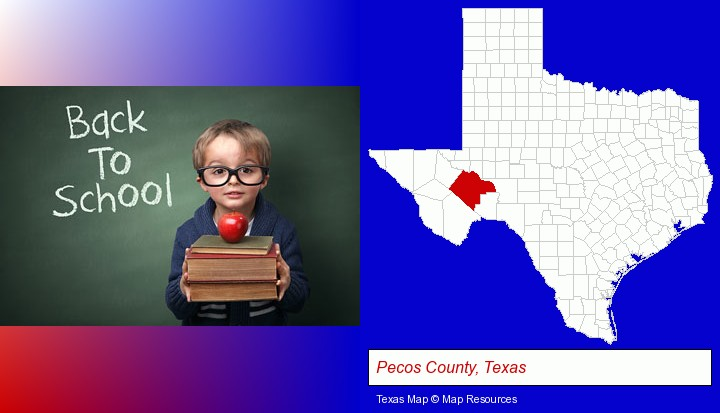 the back-to-school concept; Pecos County, Texas highlighted in red on a map
