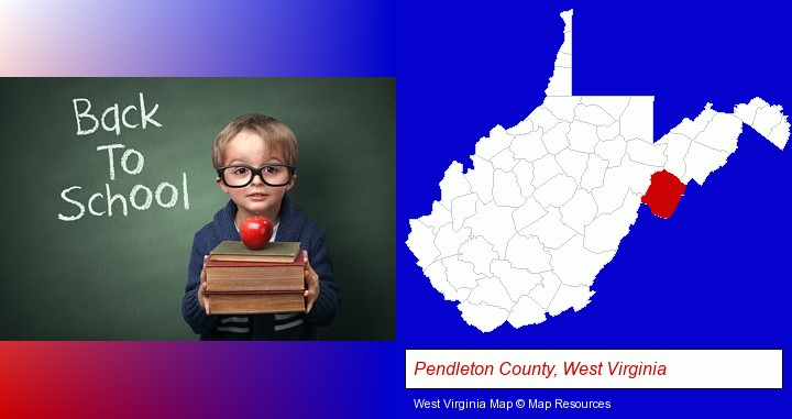 the back-to-school concept; Pendleton County, West Virginia highlighted in red on a map