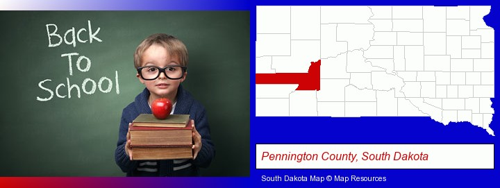the back-to-school concept; Pennington County, South Dakota highlighted in red on a map