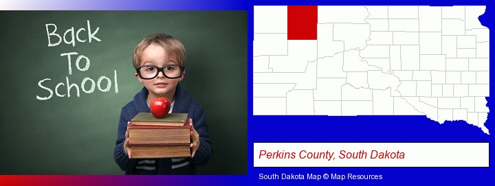 the back-to-school concept; Perkins County, South Dakota highlighted in red on a map