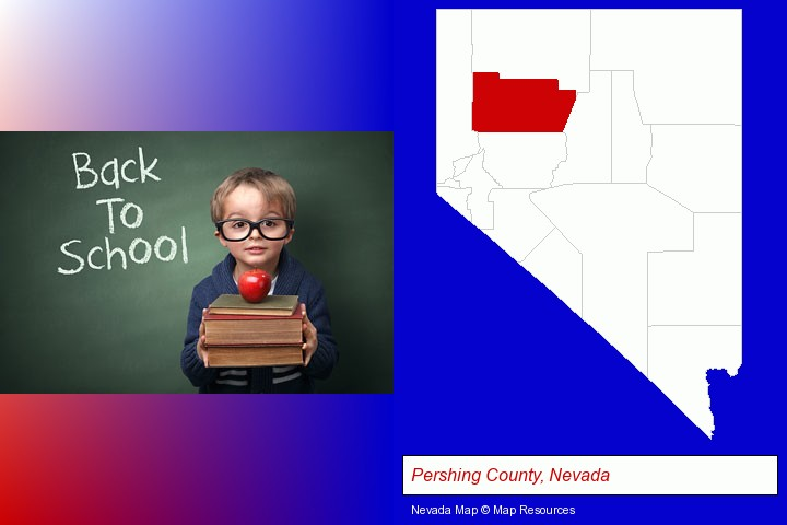 the back-to-school concept; Pershing County, Nevada highlighted in red on a map