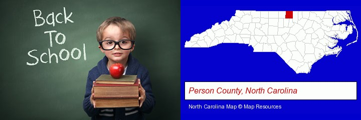 the back-to-school concept; Person County, North Carolina highlighted in red on a map