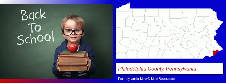 the back-to-school concept; Philadelphia County, Pennsylvania highlighted in red on a map