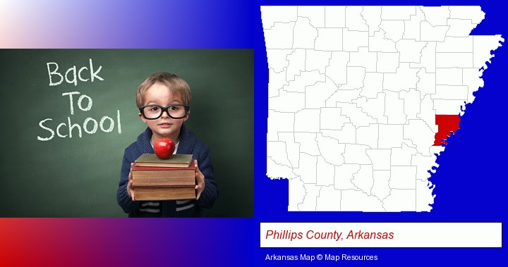 the back-to-school concept; Phillips County, Arkansas highlighted in red on a map