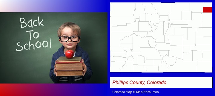 the back-to-school concept; Phillips County, Colorado highlighted in red on a map