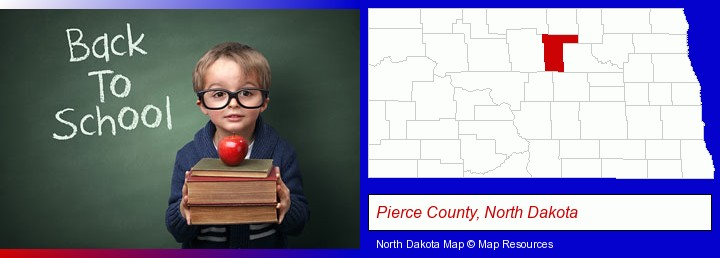 the back-to-school concept; Pierce County, North Dakota highlighted in red on a map