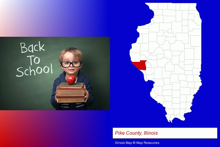 the back-to-school concept; Pike County, Illinois highlighted in red on a map