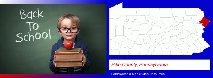 the back-to-school concept; Pike County, Pennsylvania highlighted in red on a map