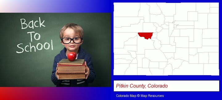 the back-to-school concept; Pitkin County, Colorado highlighted in red on a map