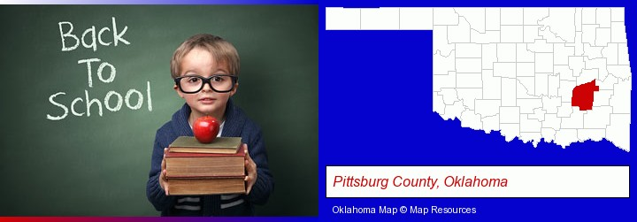 the back-to-school concept; Pittsburg County, Oklahoma highlighted in red on a map