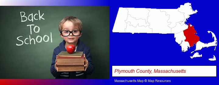 the back-to-school concept; Plymouth County, Massachusetts highlighted in red on a map