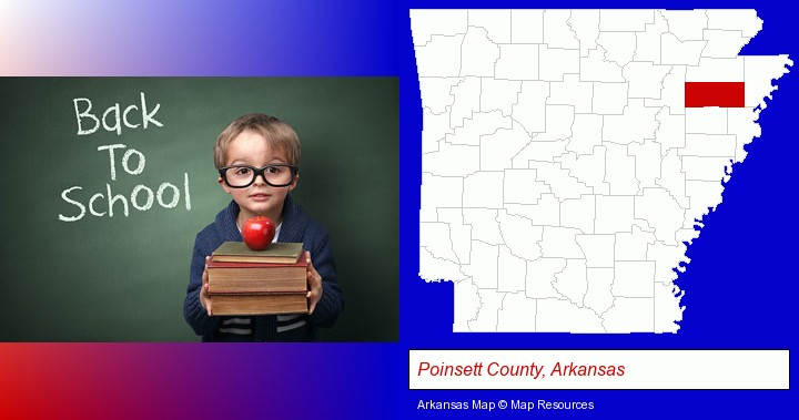 the back-to-school concept; Poinsett County, Arkansas highlighted in red on a map
