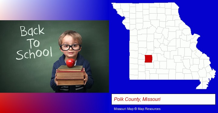 the back-to-school concept; Polk County, Missouri highlighted in red on a map
