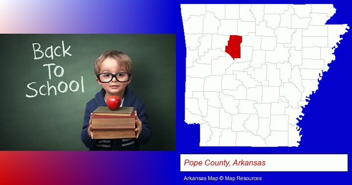 the back-to-school concept; Pope County, Arkansas highlighted in red on a map