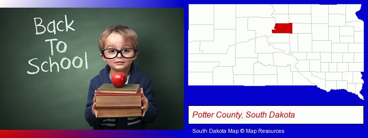 the back-to-school concept; Potter County, South Dakota highlighted in red on a map