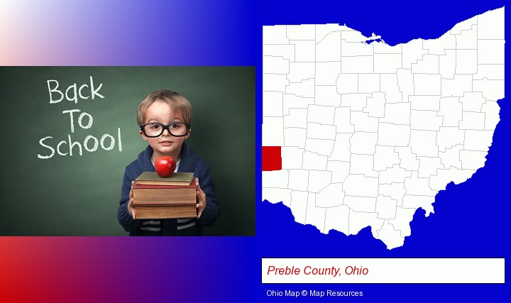 the back-to-school concept; Preble County, Ohio highlighted in red on a map