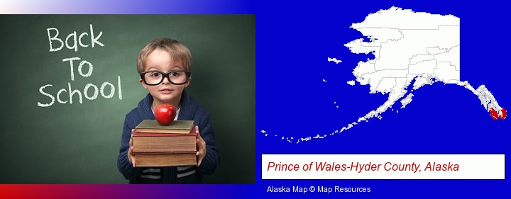 the back-to-school concept; Prince of Wales-Hyder County, Alaska highlighted in red on a map