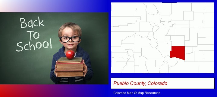 the back-to-school concept; Pueblo County, Colorado highlighted in red on a map