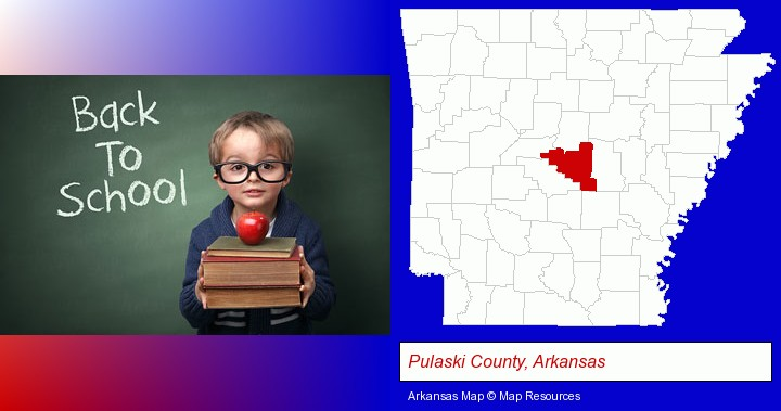 the back-to-school concept; Pulaski County, Arkansas highlighted in red on a map
