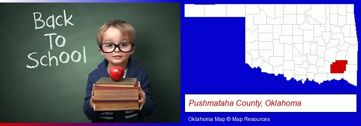 the back-to-school concept; Pushmataha County, Oklahoma highlighted in red on a map