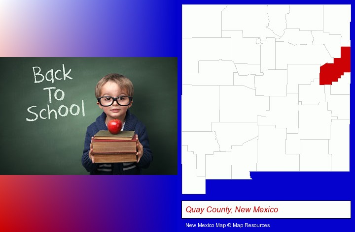 the back-to-school concept; Quay County, New Mexico highlighted in red on a map
