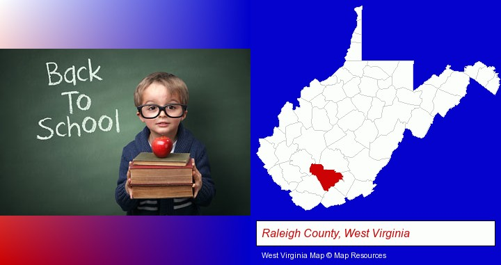 the back-to-school concept; Raleigh County, West Virginia highlighted in red on a map
