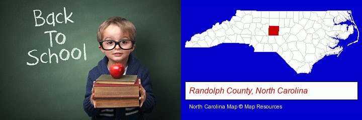 the back-to-school concept; Randolph County, North Carolina highlighted in red on a map