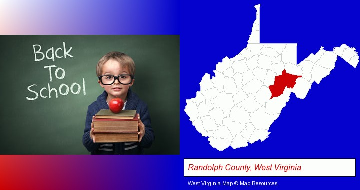 the back-to-school concept; Randolph County, West Virginia highlighted in red on a map