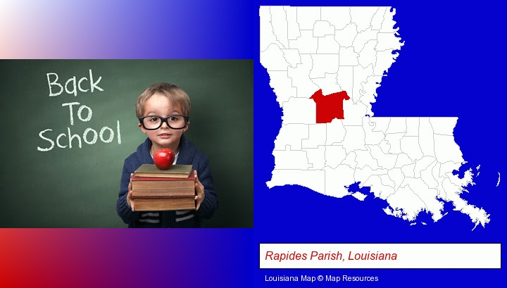 the back-to-school concept; Rapides Parish, Louisiana highlighted in red on a map