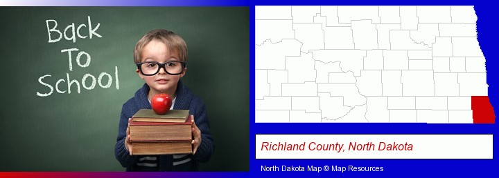the back-to-school concept; Richland County, North Dakota highlighted in red on a map