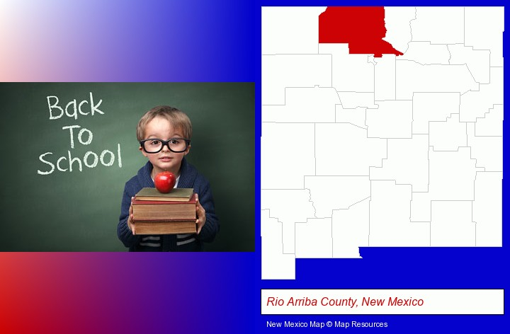 the back-to-school concept; Rio Arriba County, New Mexico highlighted in red on a map