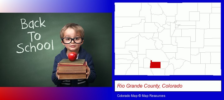 the back-to-school concept; Rio Grande County, Colorado highlighted in red on a map