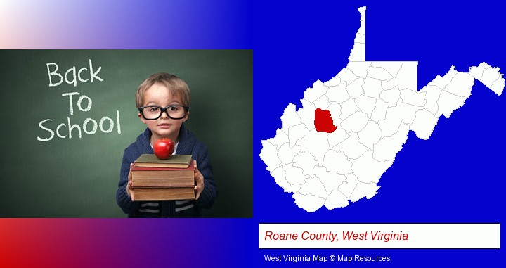 the back-to-school concept; Roane County, West Virginia highlighted in red on a map