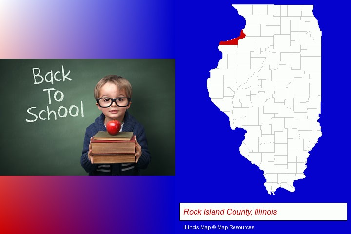 the back-to-school concept; Rock Island County, Illinois highlighted in red on a map