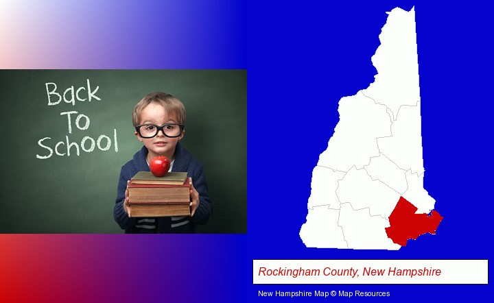 the back-to-school concept; Rockingham County, New Hampshire highlighted in red on a map