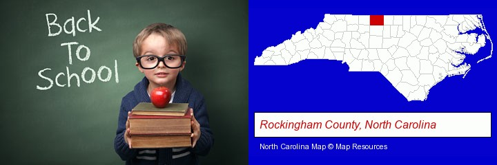 the back-to-school concept; Rockingham County, North Carolina highlighted in red on a map
