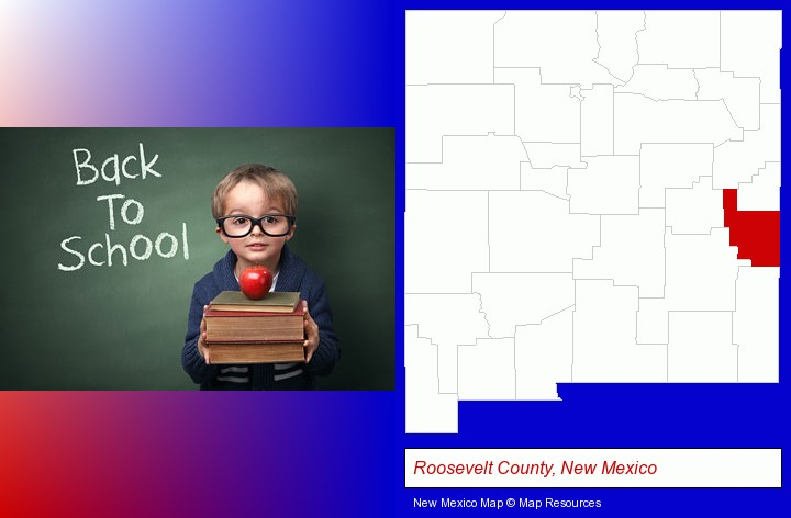 the back-to-school concept; Roosevelt County, New Mexico highlighted in red on a map