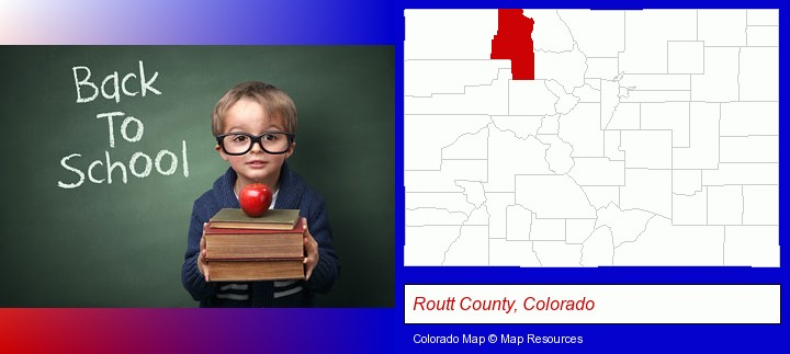 the back-to-school concept; Routt County, Colorado highlighted in red on a map