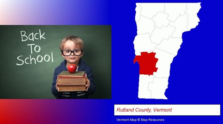 the back-to-school concept; Rutland County, Vermont highlighted in red on a map