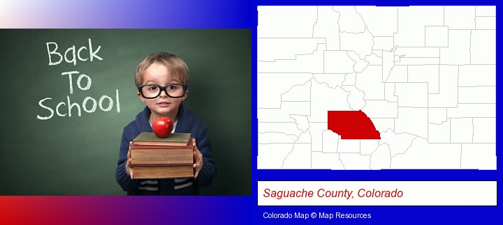 the back-to-school concept; Saguache County, Colorado highlighted in red on a map