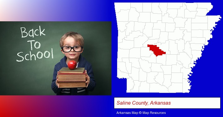 the back-to-school concept; Saline County, Arkansas highlighted in red on a map