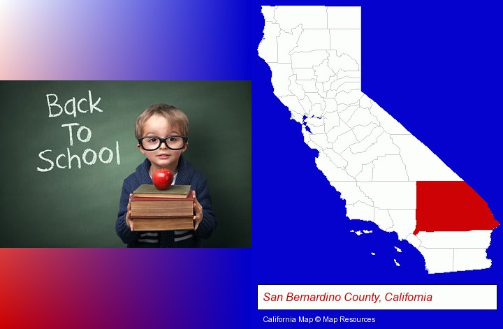 the back-to-school concept; San Bernardino County, California highlighted in red on a map