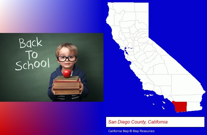 the back-to-school concept; San Diego County, California highlighted in red on a map