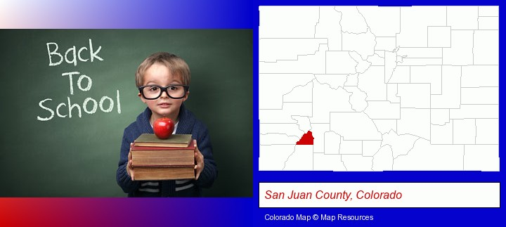 the back-to-school concept; San Juan County, Colorado highlighted in red on a map